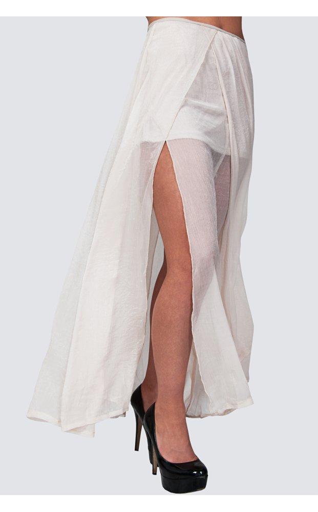 Zoe chiffon double side split maxi skirt in cream