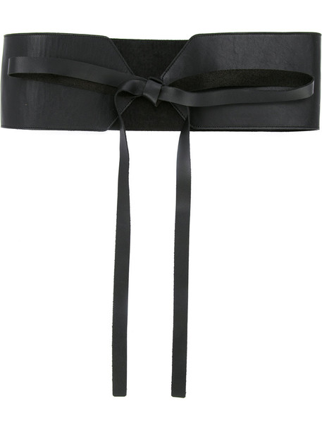 Estnation women belt lace leather black