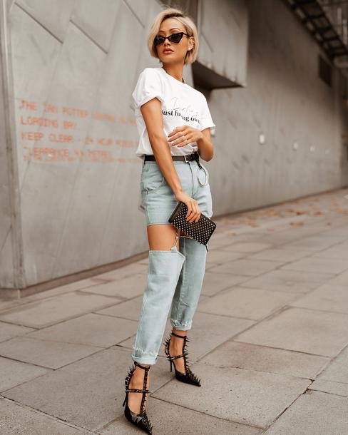 shoes pumps black pumps jeans denim ripped jeans bag white top valentino garavani womens shoes sunglasses