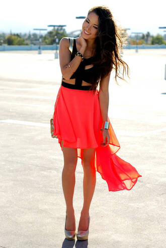 blouse dress shoes jewels bag cute neon high low cut-out orange skirt skirt neon skirt neon orange vokuhila skirt