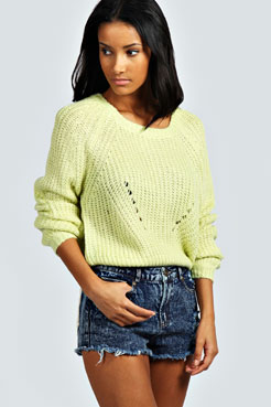 Emilia Cocoon Sleeve Laguna Knit Jumper at boohoo.com