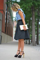 the courtney kerr,top,skirt,bag,shoes,black skirt,blue top,gold watch,charlotte olympia heels,charlotte olympia,gold bracelet,peep toe pumps