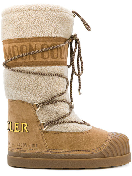 moncler women moon suede brown shoes
