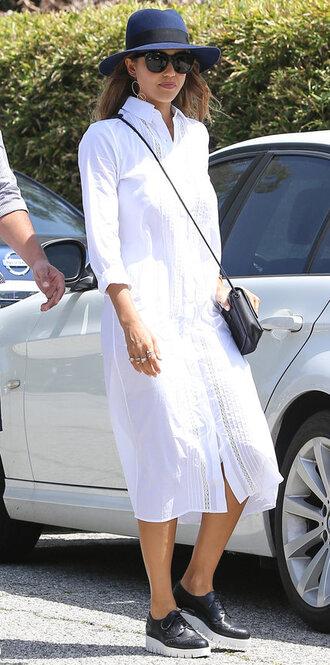 shirt dress sneakers hat white dress midi dress jessica alba