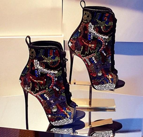 shoes bling shoes high heels peep toe boots
