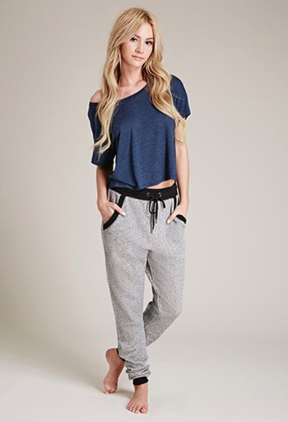 shirt blue navy off the shoulder top loose tshirt t-shirt forever 21 loose pants
