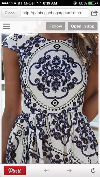 dress white navy pattern cap sleeve