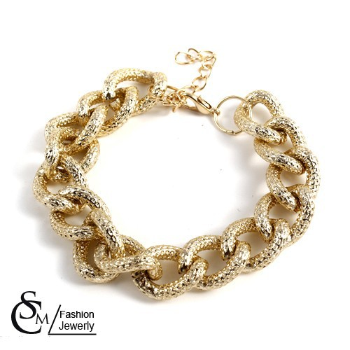 New Gold Aluminum Unisex Thick Chain Friendship Bracelets,Mix $10 Free shipping-in Vintage Bracelets & Bangles from Jewelry on Aliexpress.com