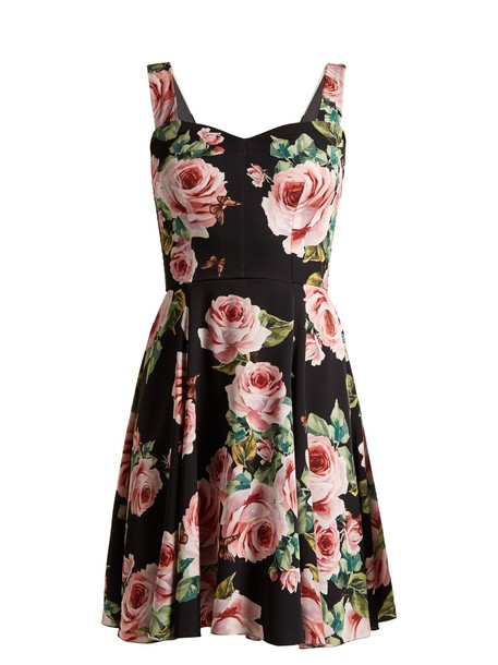 Dolce & Gabbana dress rose print black