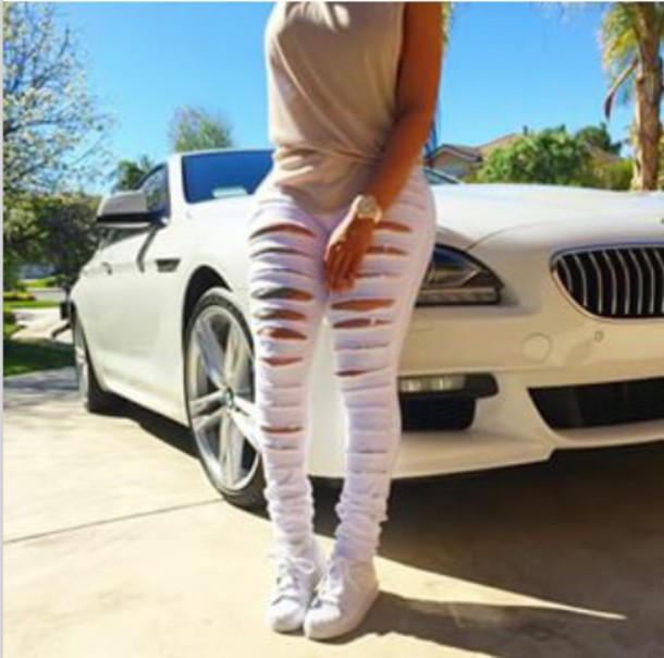 jeans blac chyna white jeans pants ripped jeans shoes style accessories skinny pants skinny jeans