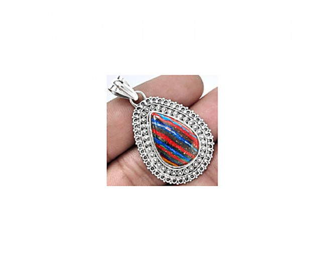 Awesome 925 sterling silver rainbow calsilica pendant