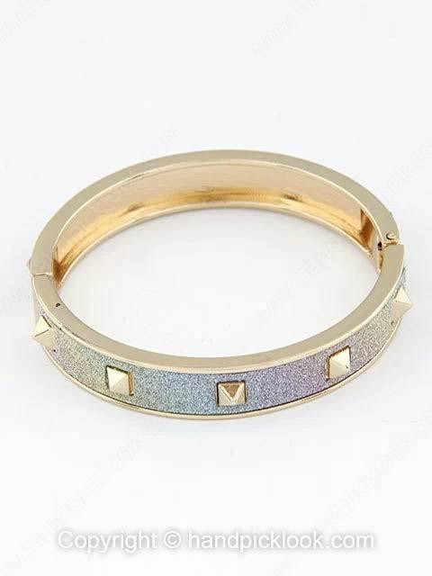 Colorful Frosted Gold Rivet Bangle Bracelet - HandpickLook.com