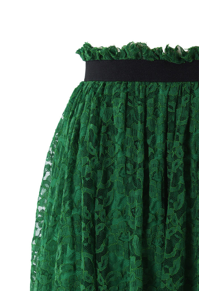 Emerald Green Full Lace Midi Skirt - Retro, Indie and Unique Fashion