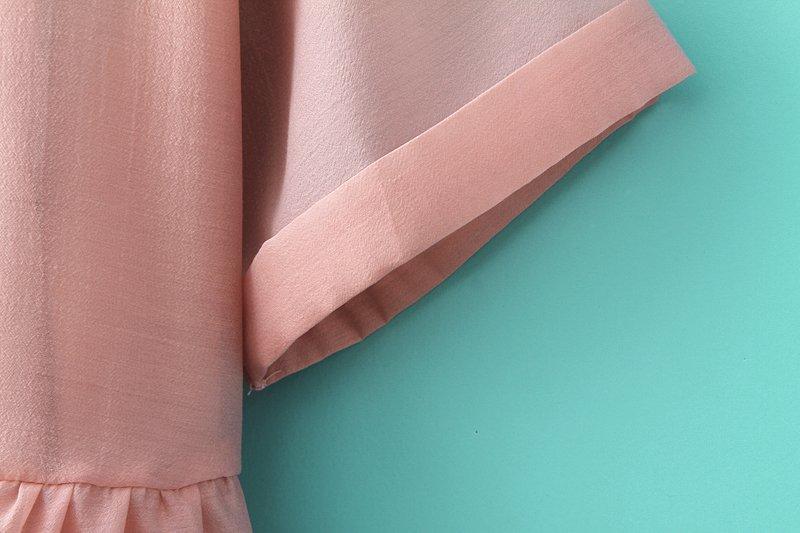 Pink Short Sleeve Organza Loose Pleated Dress - Sheinside.com