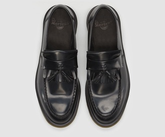 shoes black tassel loafers dr martens dms leather loafers drmartens chunky shoes