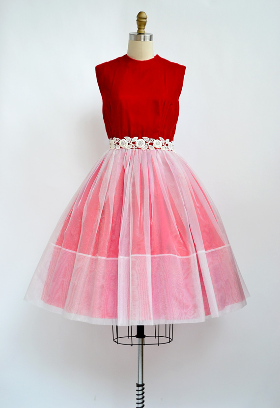 vintage 1950s red and white velvet party dress [A Sweet Proposal Dress] - $168.00 : ADORED | VINTAGE, Vintage Clothing Online Store