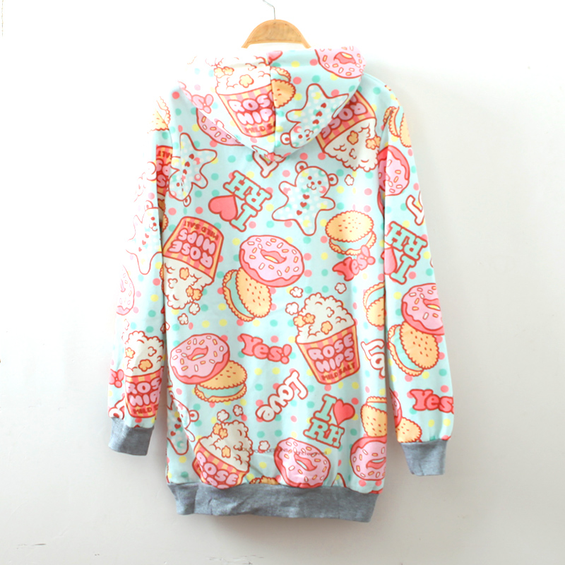 Cream dessert cartoon fleece hoodie from Harajuku fashion on Storenvy