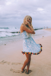 dress,blue dress,tumblr,pom poms,mini dress,light blue,sleeveless,sleeveless dress,hair,long hair,blonde hair,barefoot blonde,theclosetheroes,blogger,jumpsuit,skirt,swimwear,blouse,shorts