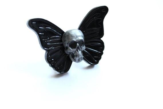Dahlia Deranged Designs - Skull Butterfly Ring