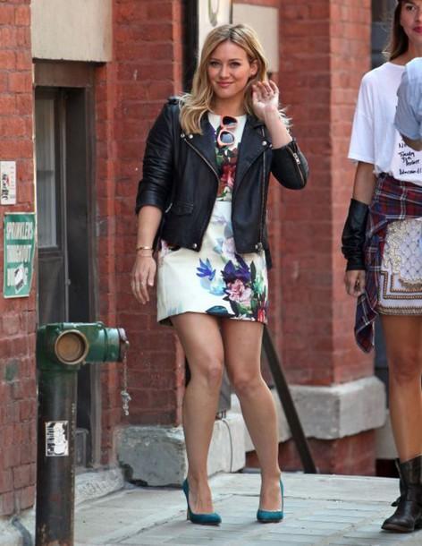 Dress Hilary Duff Floral Short Dress Mini Dress