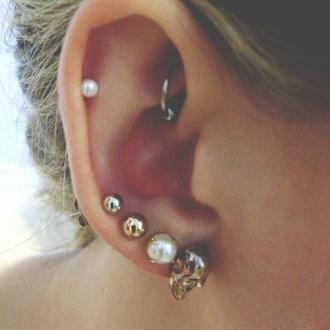 jewels earrings pearl skull