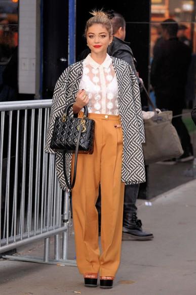 pants fall outfits coat sarah hyland mustard