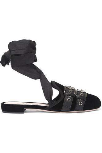 ballet slippers lace black velvet shoes