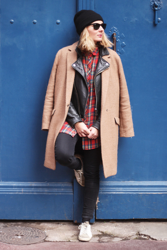 jane's sneak peak blogger shirt leather jacket camel coat tartan winter outfits