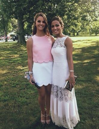 dress scalloped scallop trim pink white preppy tank top skirt preppy dress preppy outfit preppy girl prep