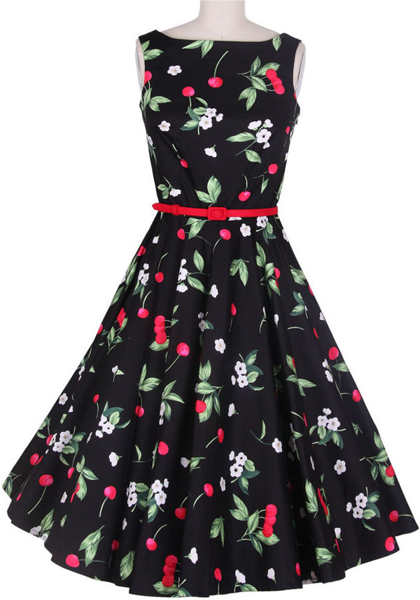50s style vintage print black dress evening dress wedding dress prom dress 50s style vintage dress