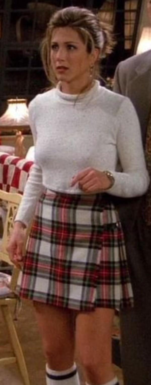 103964761e sweater rachel green friends friends TV show tumblr outfit 90s style high  waisted skirt tartan skirt