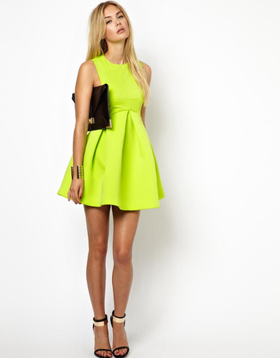 Neon structured skater dress  · maheen · online store powered by storenvy