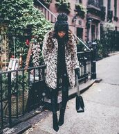 pants,leggings,coat,leopard coat,faux fur,leather leggings,black boots,black bag,black sweater,black hat