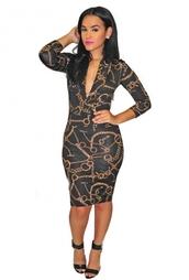 dress,bodycon dress,v neck,deep v cut,deep v,little black dress,chain link,versace,celeb,celebrity,bandage dress,sexy,mini dress,midi dress,gold