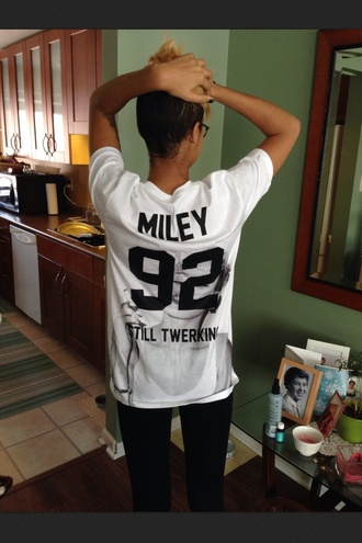 shirt miley cyrus white t-shirt