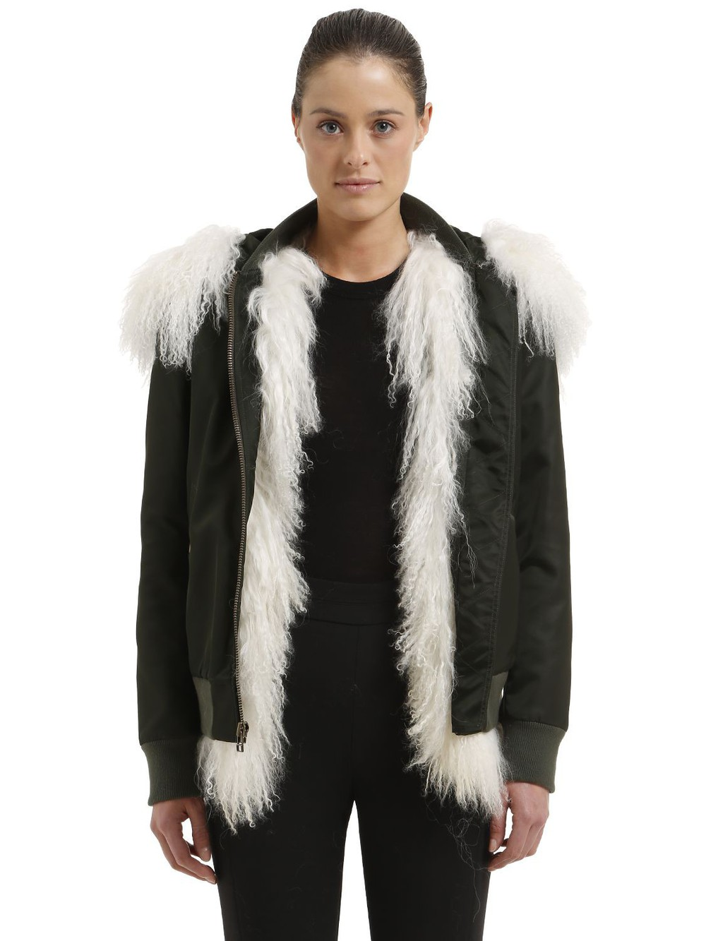 MR & MRS ITALY Slim Fit Bomber Jacket W/ Fur in green