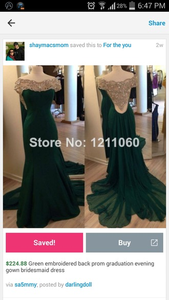 dress open back prom dress emerald green mermaid prom dress