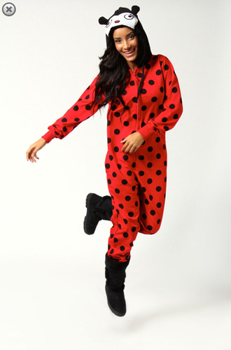 shirt ladybug ladybird red spots cute winter outfits pajamas nightware onesie
