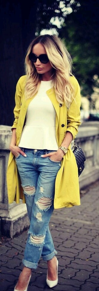 coat yellow trench coat trench coat white top blouse jeans