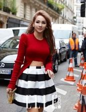 lee chaerin,cl,black and white,stripes,ballerina,kfashion,paris fashion week,ulzzang,cropped sweater,skirt,top,kpop,the queen,baddies,2ne1,2ne1 cl,kpop idol,sweater,red sweater,high low,crop top sweater,red