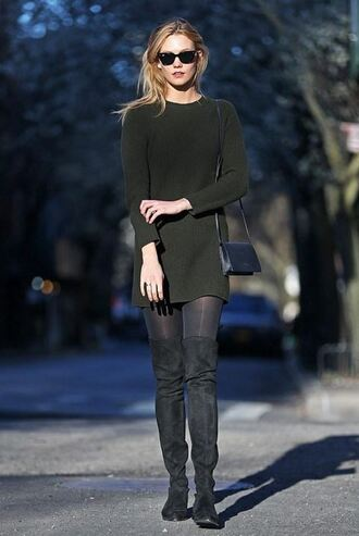 shoes all black everything karlie kloss boots over the knee boots black dress dress little black dress spring outfits