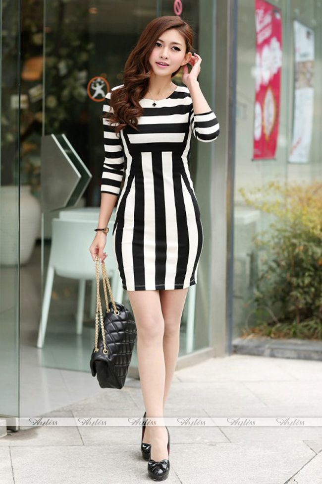 Womens Celeb Monochrome Black White Striped Optical Illusion Party Bodycon Dress | eBay