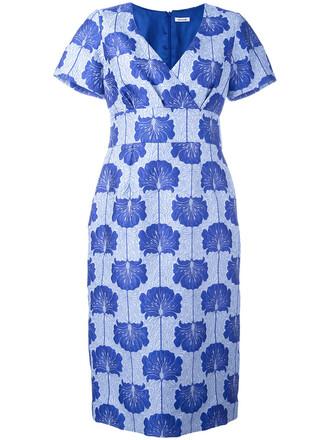 dress shift dress women jacquard floral blue silk