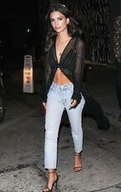 top,blouse,cover up,emily ratajkowski,model off-duty,streetstyle,sandals,jeans,spring outfits