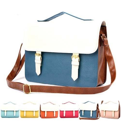 Womens Shoulder Tote Handbag Faux Leather Square Messenger Bag ...
