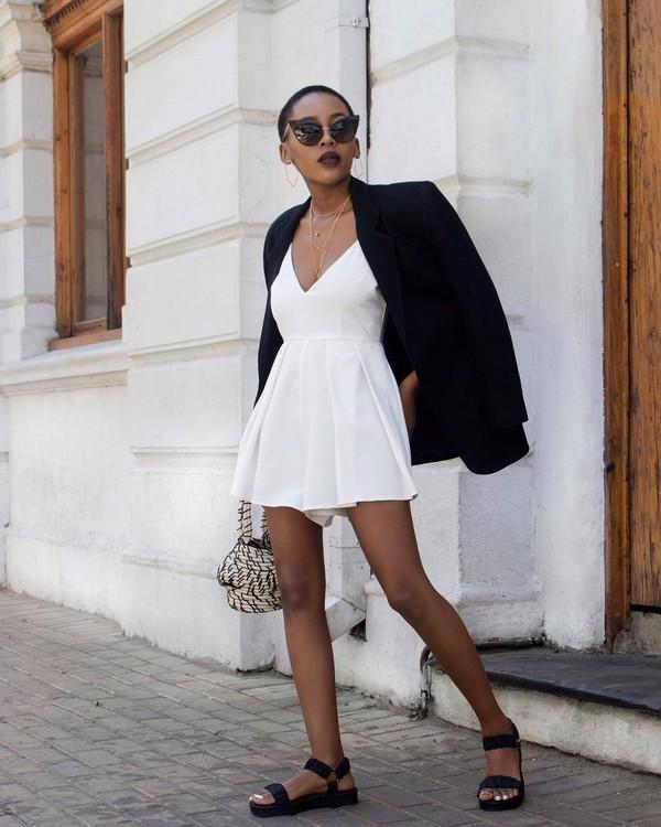 romper white romper sleeveless flat sandals handbag blazer black blazer sunglasses