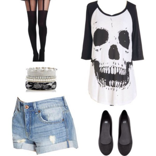 shirt skull skull love black white grey