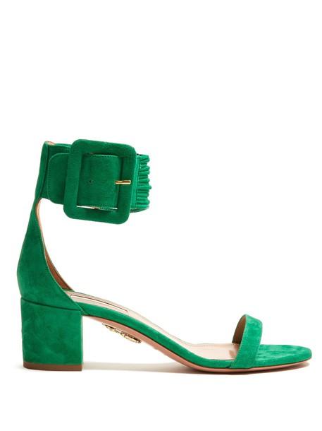 Aquazzura heel sandals suede green shoes