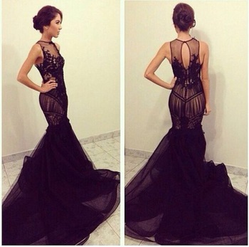 com : Buy Elegant Black Mermaid Prom Dress 2015 Fashion Keyhole ...