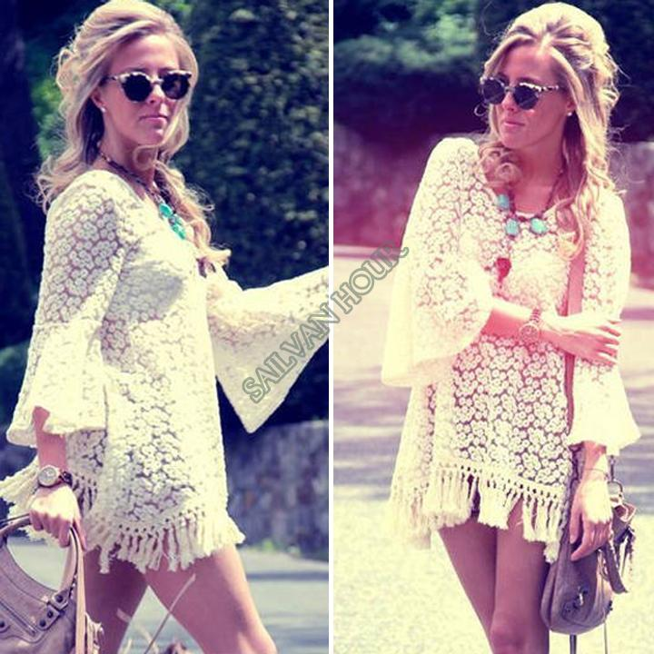 2014 New Women sexy White hollow out Hippie Boho Bell Sleves Gypsy Festival Fringe White Lace mini Dress Top B6 SV001275-in Dresses from Apparel & Accessories on Aliexpress.com